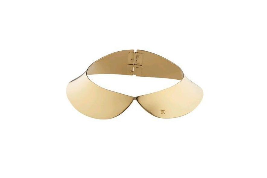 colletto in metallo dorato con logo louis vuitton