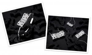 bracciale bangle e collier di akillis a forma di fiocco in oro bianco e diamanti collezione god save the punk