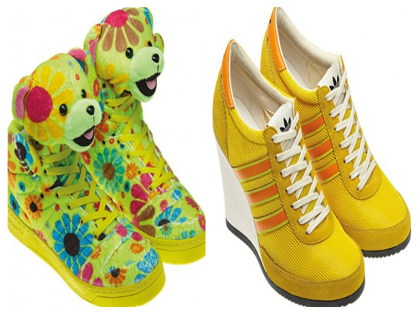 best loved 8df60 134af scarpe adidas by jeremy scott orsi peluches a fiori e zeppe gialle bande  arancio