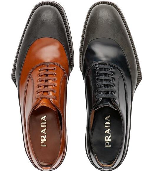 scarpe prada uomo autunno inverno 2012 2013 stringate classiche bicolor con  suola geometrica c5fd1cd8f5c