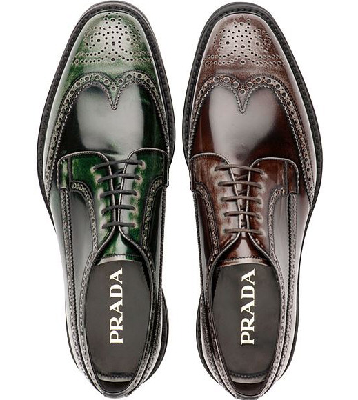 scarpe prada uomo stringate con decori all inglese verdi e marroni autunno inverno  2012 2013 3fb411b6208