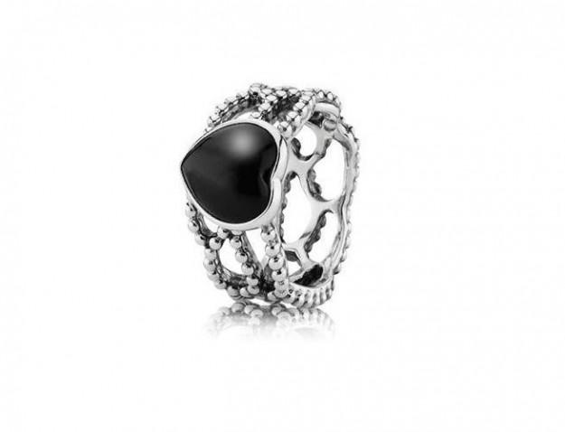 pandora anello pietra nera