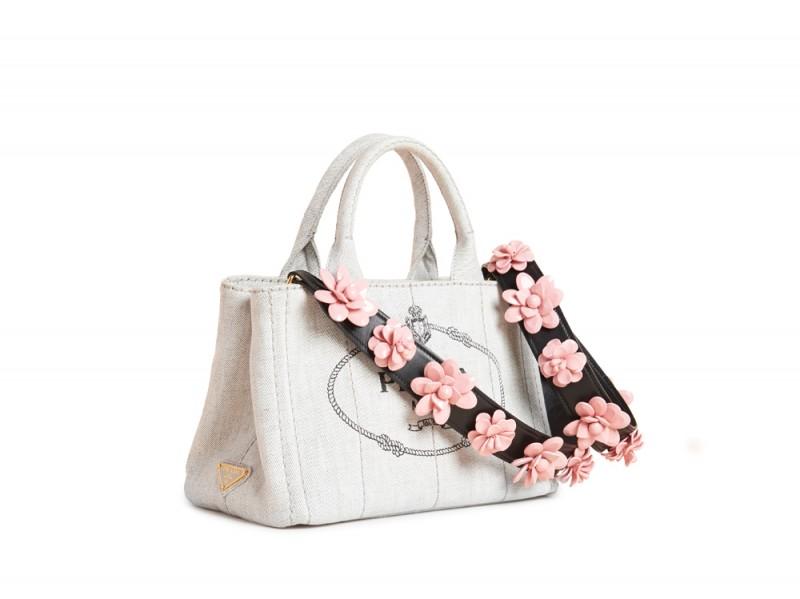 prada saffiano vernice strap bag - Le tracolle con fiori di Prada   Drezzy