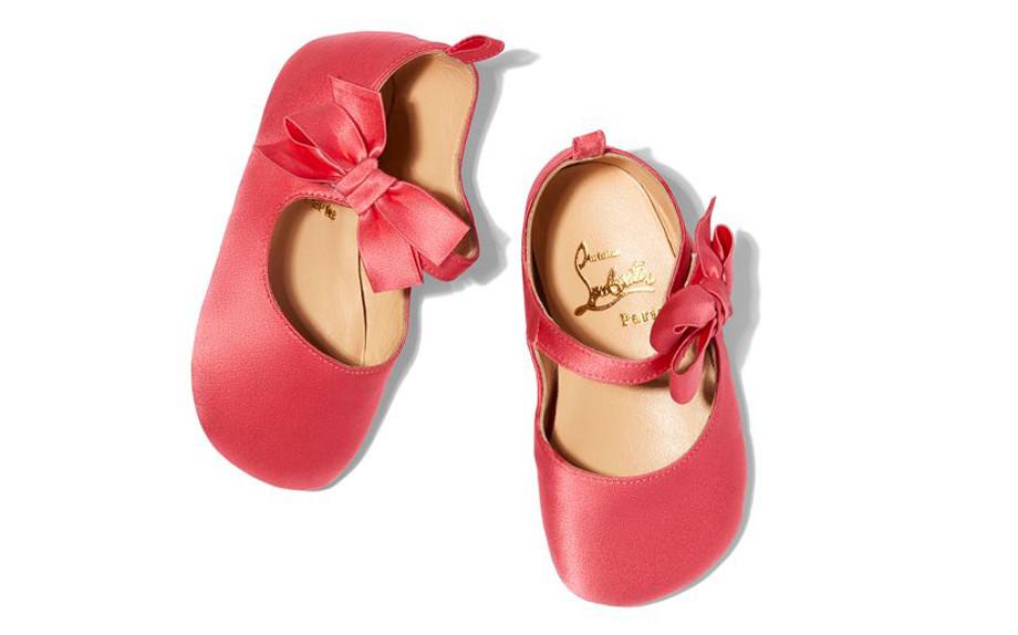 scarpe da bambina in raso rosa con fiocchetto christian louboutin