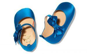 scarpe primi mesi per bambina in raso azzurro christian louboutin