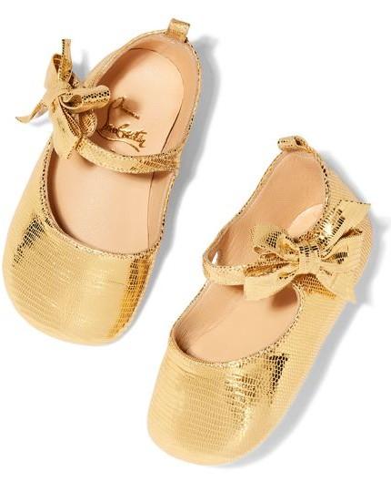 scarpe da bimba colo oro in pelle lamè christian louboutin