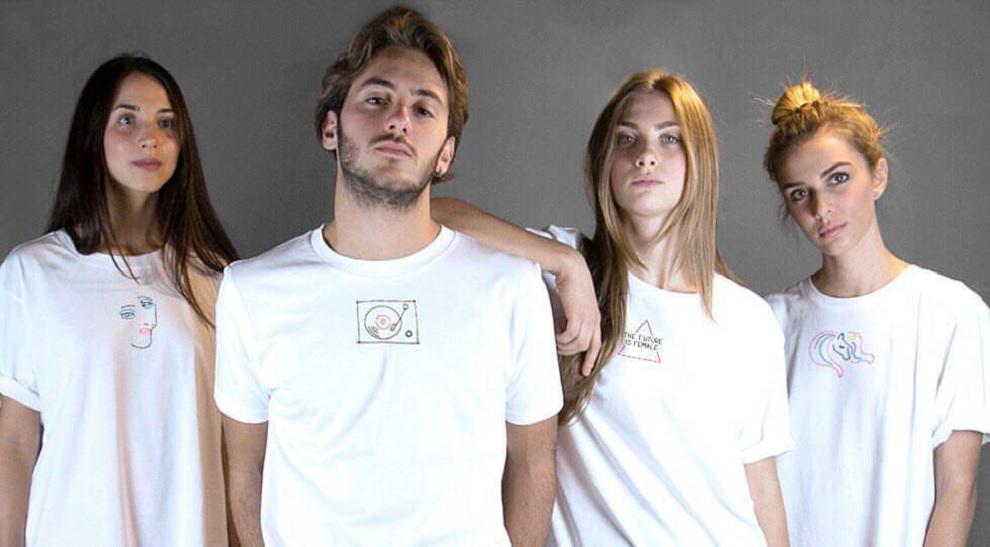 t-shirt ricamate a mano in cotone ecosostenibile melidè